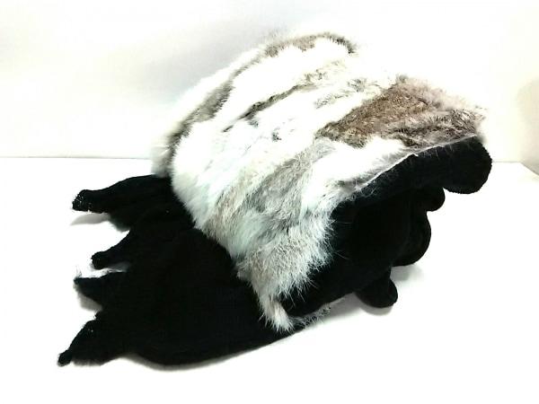 リンガフランカ ストール(ショール)美品  黒×白×ライトグレー アクリル×ラビット