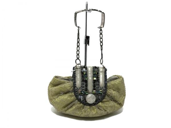 bagteria(バッグテリア) ハンドバッグ ベージュ×マルチ ビジュー 化学繊維×金属素材