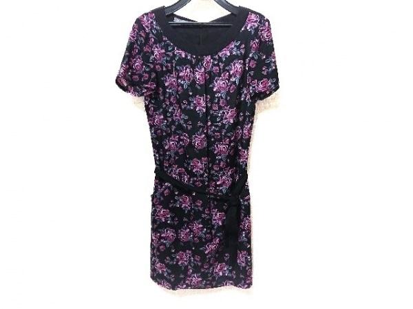 ローラアシュレイ ワンピース サイズ9 M レディース美品  黒×ピンク×グリーン 花柄