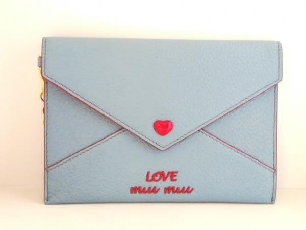 ミュウミュウ 財布美品  マドラス ラブ エンベロープ 5MF001 ブルー×レッド レザー