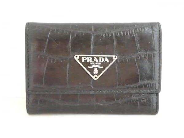 PRADA(プラダ) キーケース - 黒 6連フック/型押し加工 レザー