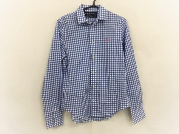 ポロラルフローレン 長袖シャツ サイズs S メンズ美品  白×ライトブルー チェック柄