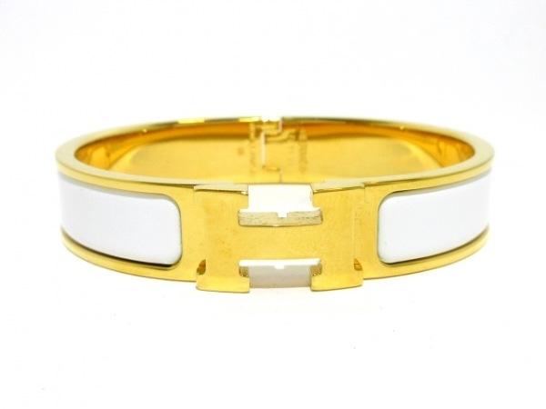 HERMES(エルメス) バングル美品  クリッククラック 金属素材 ゴールド×アイボリー