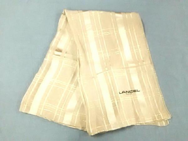 LANCEL(ランセル) スカーフ新品同様  ベージュ×ゴールド シルク