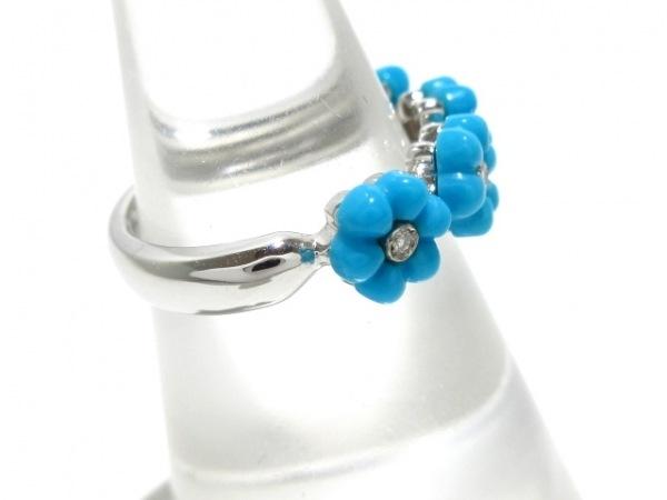 ポンテヴェキオ リング美品  K18WG×ダイヤモンド×カラーストーン ライトブルー