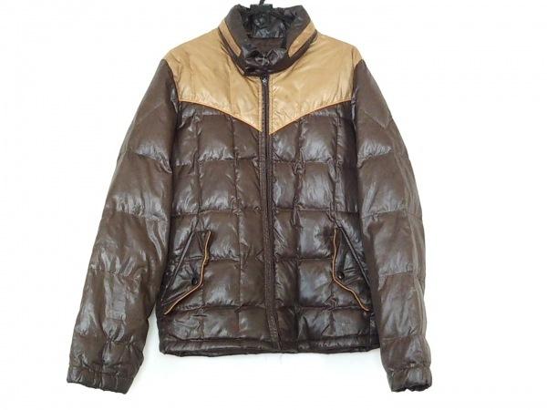 タケオキクチ ダウンジャケット サイズ4 XL メンズ ダークブラウン×ベージュ 冬物
