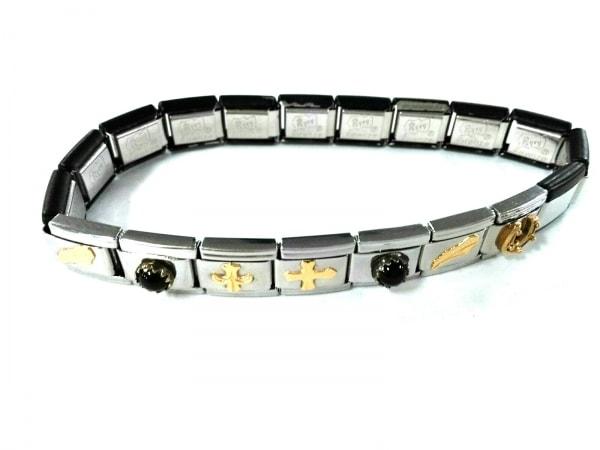 ナラカミーチェメッサジオ ブレスレット美品  金属素材 シルバー×黒×ゴールド