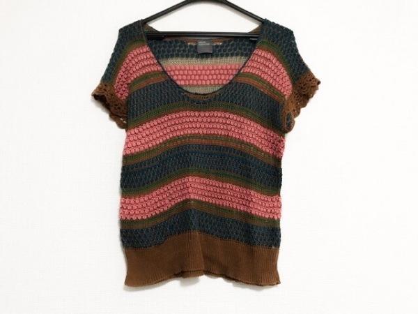 ヒロミ ツヨシ 半袖セーター レディース美品  ブラウン×ピンク×グリーン