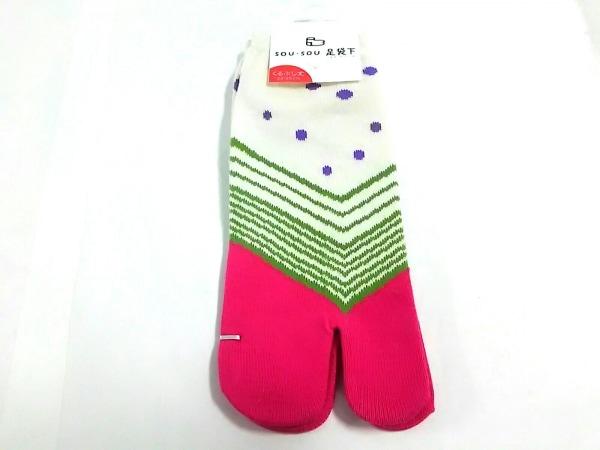 SOU・SOU(ソウソウ) 小物 23~25新品同様  アイボリー×ピンク×マルチ 靴下