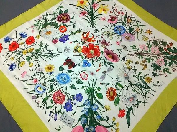 GUCCI(グッチ) スカーフ美品  ライトグリーン×アイボリー×マルチ 花柄
