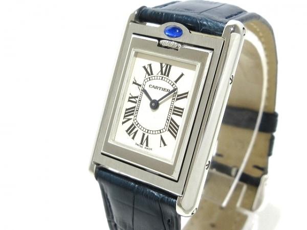 カルティエ 腕時計美品  タンクバスキュラントSM W1011158 レディース SS/革ベルト 白