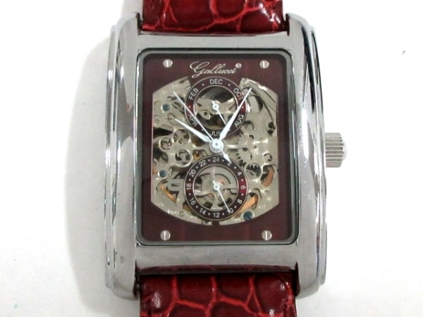 GALLUCCI(ガルーチ) 腕時計美品  - メンズ 型押し加工/裏スケ ボルドー×シルバー