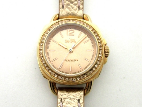 COACH(コーチ) 腕時計 CA.109.7.34.1309S レディース 革ベルト/ラインストーンベゼル