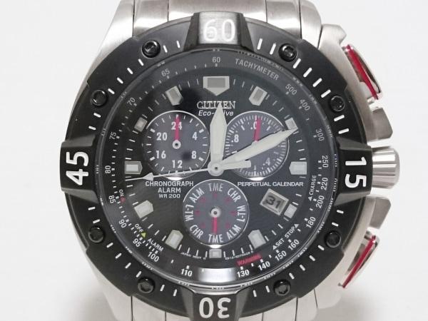 CITIZEN(シチズン) 腕時計美品  エコドライブ E820-S062187 メンズ 黒