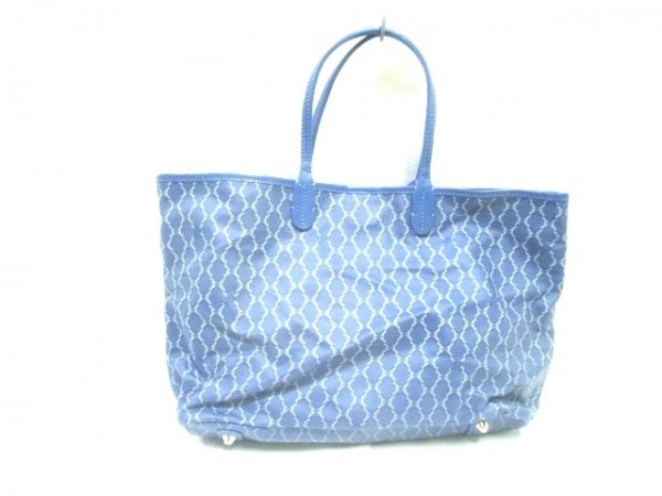 ヴィセッタンタトレ トートバッグ ブルー×ライトグレー PVC(塩化ビニール)×レザー