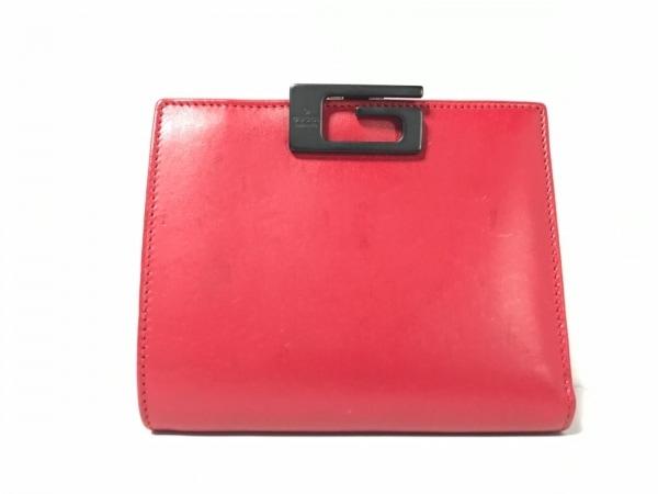 GUCCI(グッチ) 2つ折り財布 - - レッド×黒 レザー×金属素材
