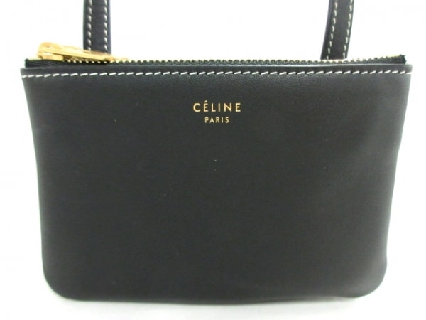 CELINE(セリーヌ) ショルダーバッグ美品  ミニ トリオ 183683BD3.38NO 黒 レザー