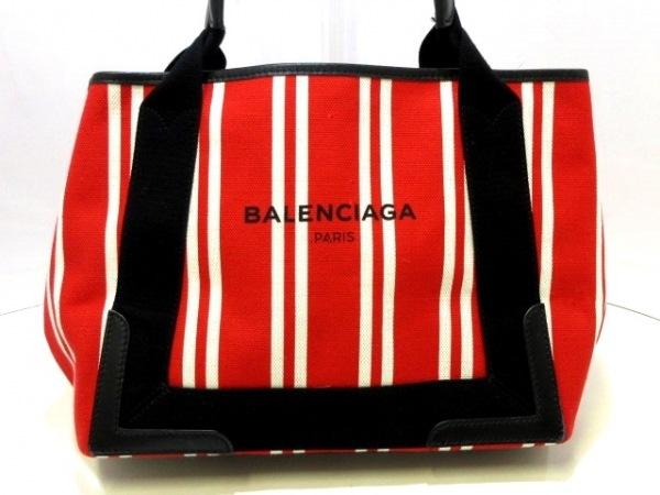バレンシアガ トートバッグ ネイビーカバS 390346 レッド×白×黒 ストライプ