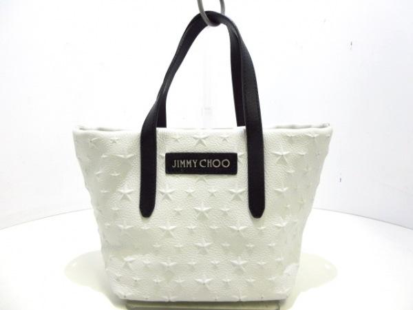 ジミーチュウ ハンドバッグ ミニサラ 白×黒 スター/エンボス加工 グレイニーレザー