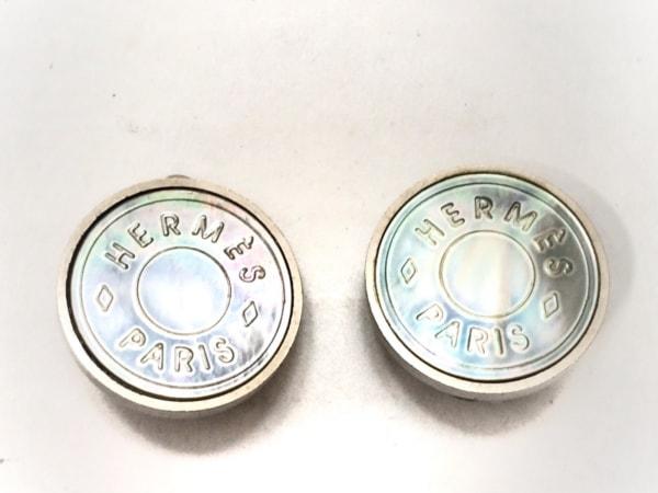 HERMES(エルメス) イヤリング セリエ 金属素材×シェル シルバー×シェルブルー