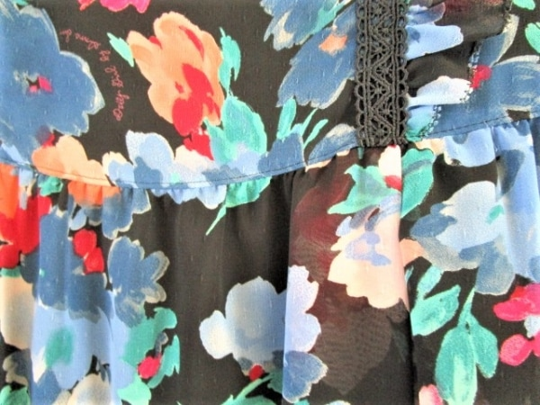 ドーリーガール ワンピース サイズ2 S レディース 黒×レッド×マルチ 花柄