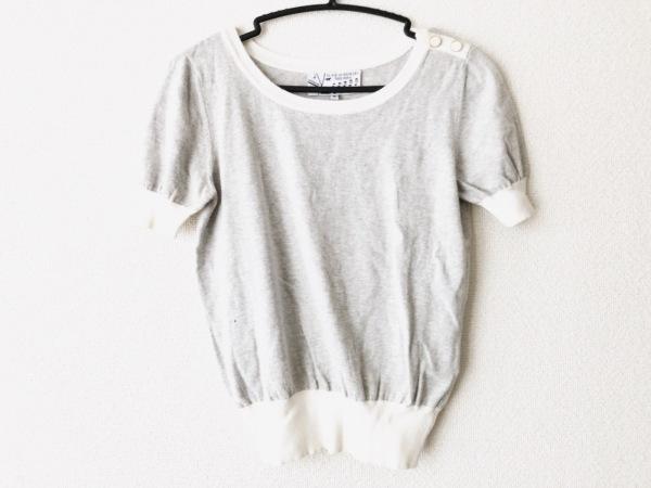 Kitsune(キツネ) 半袖セーター サイズS レディース新品同様  ライトグレー×白