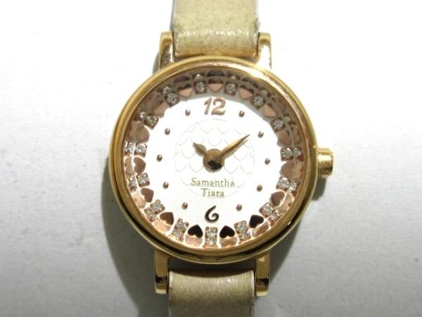 サマンサ ティアラ 腕時計 - レディース 革ベルト/ハート/ラインストーン 白