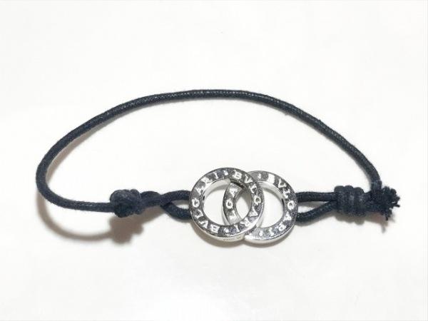 BVLGARI(ブルガリ) ブレスレット美品  ドッピオ シルバー×コットン 黒