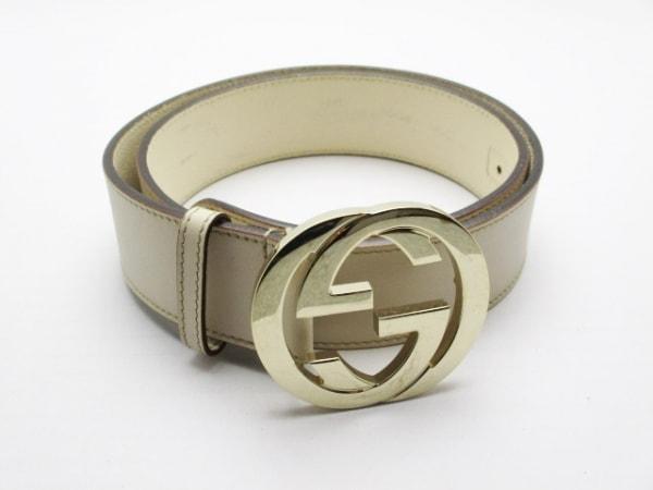 GUCCI(グッチ) ベルト 90/36 ダブルG 114876 ベージュ×ゴールド レザー×金属素材