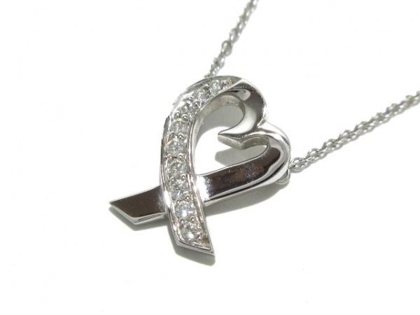ティファニー ネックレス美品  ラヴィングハート K18WG×ダイヤモンド 9Pダイヤ