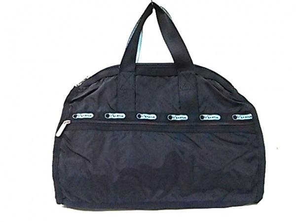 レスポートサック ショルダーバッグ 黒×ライトブルー 2way レスポナイロン