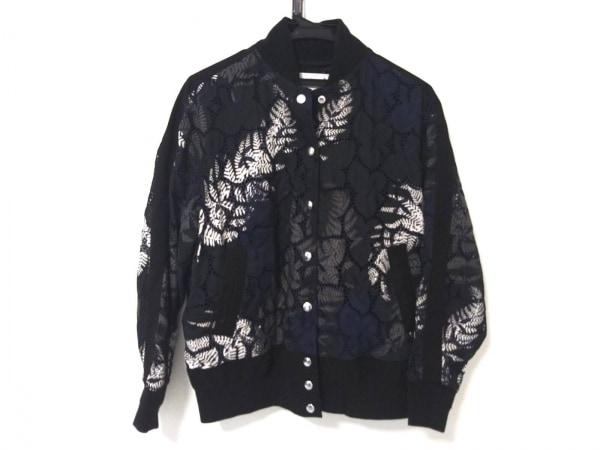 Sacai(サカイ) ブルゾン レディース美品  黒×ネイビー×マルチ 花柄/刺繍/春・秋物