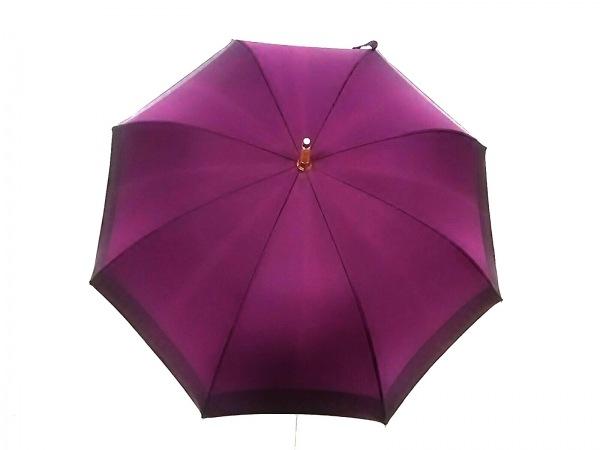 ルイヴィトン 傘美品  パープル×ボルドー×ベージュ 化学繊維×ヌメ革