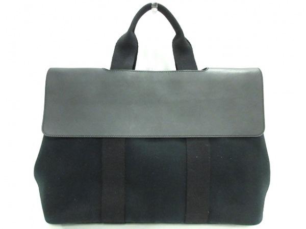 HERMES(エルメス) ハンドバッグ バルパライソMM 黒 トワルシェブロン×レザー