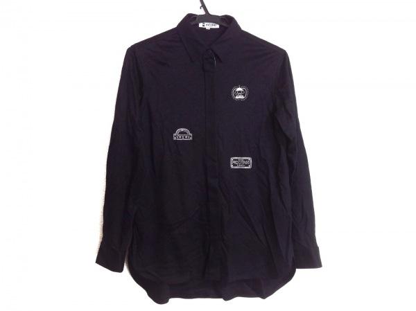ピッコーネ 長袖シャツブラウス サイズ38 S レディース 黒×ライトグレー 刺繍