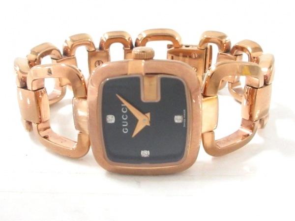 GUCCI(グッチ) 腕時計美品  125.5 レディース 3Pダイヤ 黒