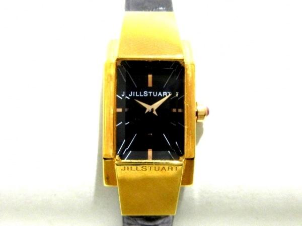 ジルスチュアート 腕時計美品  VB20-5110 レディース 革ベルト/型押し加工 黒