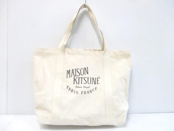 MAISON KITSUNE(メゾンキツネ) トートバッグ美品  アイボリー×黒 キャンバス