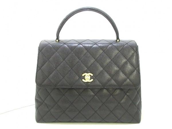 シャネル ハンドバッグ美品  マトラッセ A12397 黒 ゴールド金具 キャビアスキン