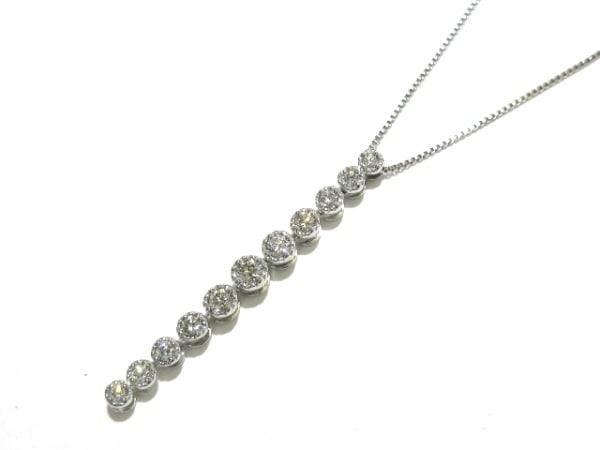 La soma(ラソマ) ネックレス美品  K18WG×ダイヤモンド 10Pダイヤ/0.3カラット