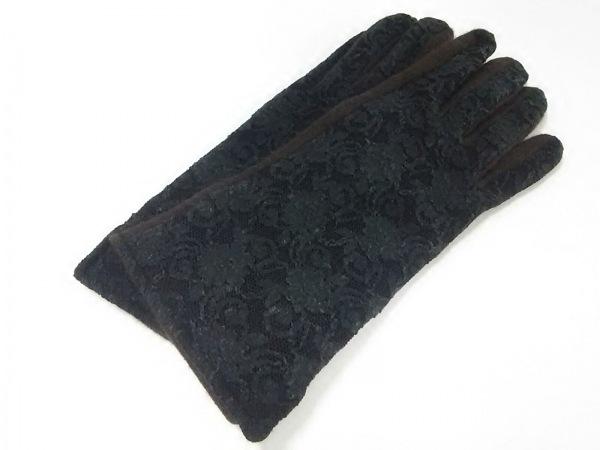DKNY(ダナキャラン) 手袋 レディース ダークブラウン×黒 レース 1