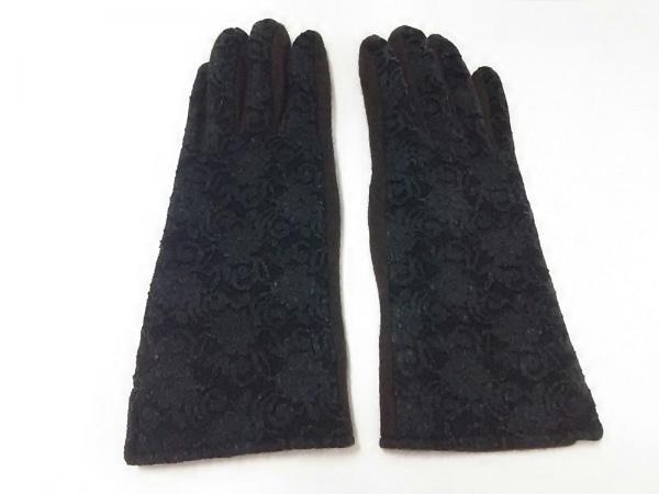 DKNY(ダナキャラン) 手袋 レディース ダークブラウン×黒 レース 2
