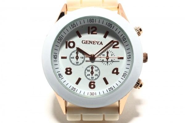 GENEVA QUARTZ(ジェネバクォーツ) 腕時計 - メンズ ラバーベルト/クロノグラフ 白