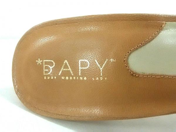 BAPY(ベイピー) ミュール S レディース ベージュ×黒 リボン 合皮×化学繊維