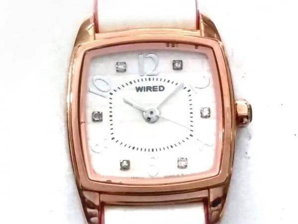 ワイアード 腕時計美品  1N01-0GE0 レディース 型押し革ベルト/ラインストーン 白