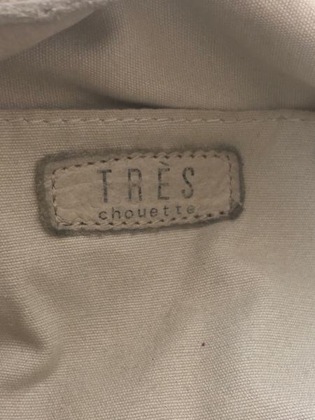 TRES(トレ) トートバッグ ライトグレー フリンジ レザー