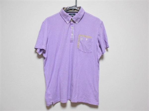 マンシングウェア 半袖ポロシャツ サイズLL メンズ美品  パープル×白×ベージュ