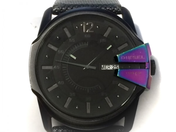 DIESEL(ディーゼル) 腕時計 DZ-1347 メンズ 革ベルト 黒