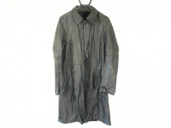HAUTE(オート) コート サイズ48 XL レディース美品  黒 レザー/春・秋物