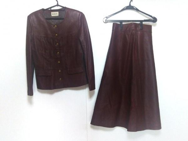 インゲボルグ スカートスーツ サイズL レディース ボルドー 肩パッド/レザー